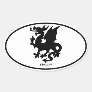 Asian Dragon Oval Sticker