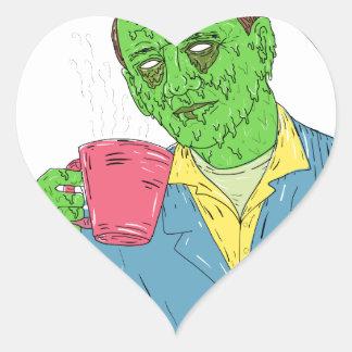 Asian Dude Drinking Coffee Grime Art Heart Sticker