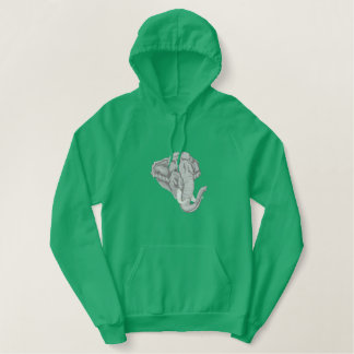 Asian Elephant Embroidered Hoodie