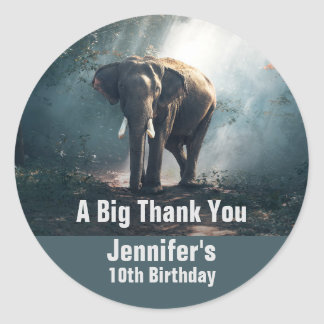 Asian Elephant in a Sunlit Forest Birthday Classic Round Sticker