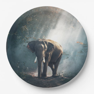Asian Elephant in a Sunlit Forest Clearing Paper Plate