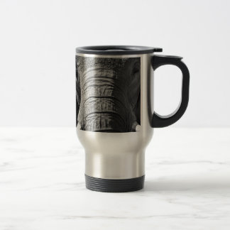 Asian Elephant in Black and White Travel Mug
