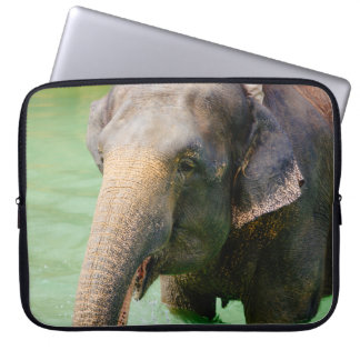 Asian Elephant In Green Water, Animal Photo Laptop Sleeve