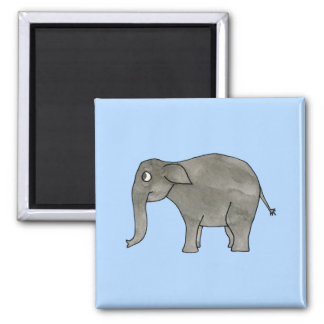 Asian Elephant, on light blue. 2 Inch Square Magnet