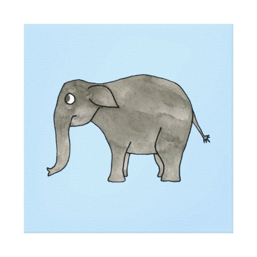 Asian Elephant, on light blue. Stretched Canvas Prints