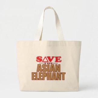 Asian Elephant Save Large Tote Bag