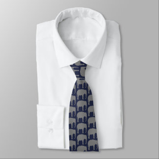 Asian Elephant Silhouettes Pattern Neck Tie