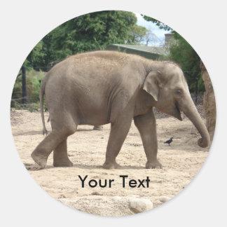 Asian Elephant Walking On Sand Name Tag Sticker