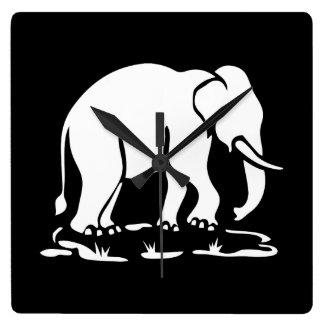 Asian Elephants Ahead Thai Elephant Trekking Sign Square Wallclocks