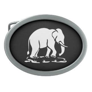 Asian Elephants Ahead Thai Elephant Trekking Sign Oval Belt Buckle