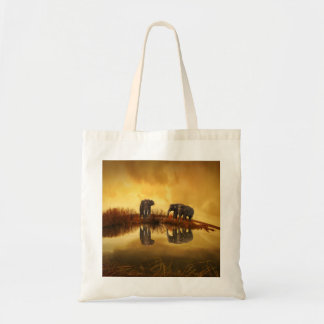 Asian Elephants in Thailand under a glowing sunset Canvas Bag