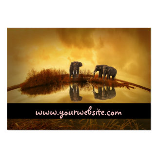 Asian Elephants in Thailand under a glowing sunset Large Business Card