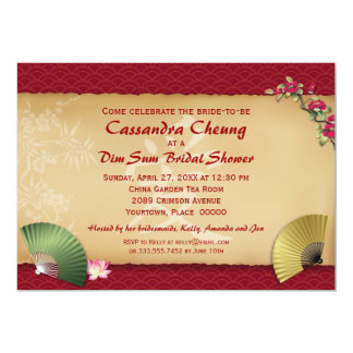 "Asian Fans Bridal Shower 5"" X 7"" Invitation Card"