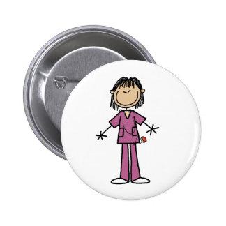 Asian Female Stick Figure Nurse  Button