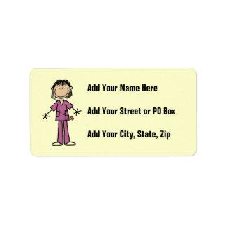 Asian Female Stick Figure Nurse Label