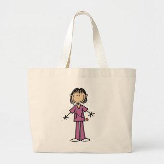 Asian Female Stick Figure Nurse Large Tote Bag