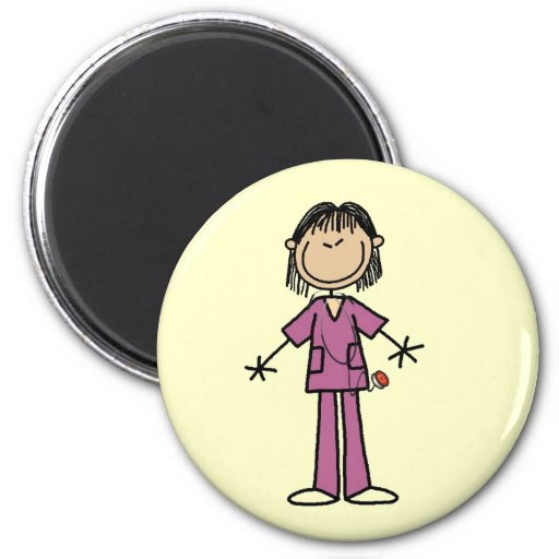 Asian Female Stick Figure Nurse Magnet