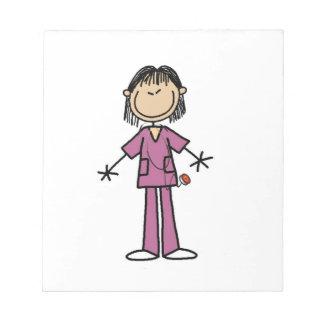 Asian Female Stick Figure Nurse Notepad