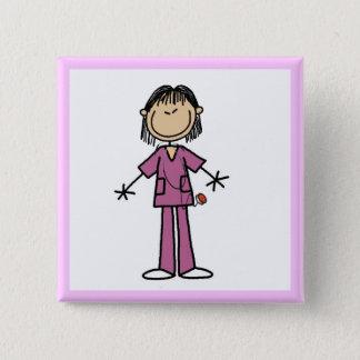 Asian Female Stick Figure Nurse Pinback Button