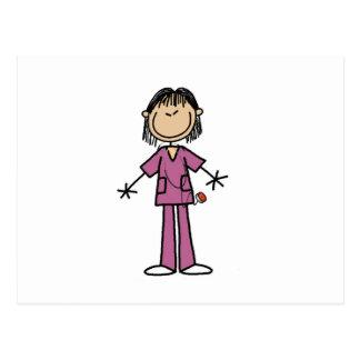Asian Female Stick Figure Nurse Postcard