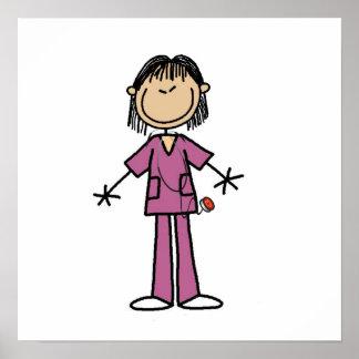 Asian Female Stick Figure Nurse Poster