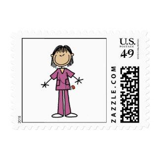 Asian Female Stick Figure Nurse Stamp