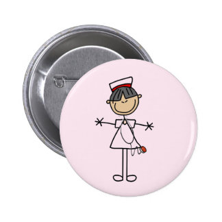 Asian Female Stick Figure Nurse T-shirts and Gifts 2 Inch Round Button