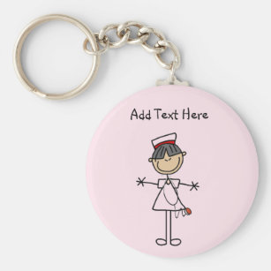 Asian Female Stick Figure Nurse T-shirts and Gifts Keychain