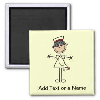Asian Female Stick Figure Nurse T-shirts and Gifts 2 Inch Square Magnet