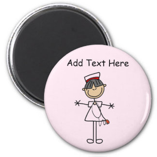 Asian Female Stick Figure Nurse T-shirts and Gifts 2 Inch Round Magnet