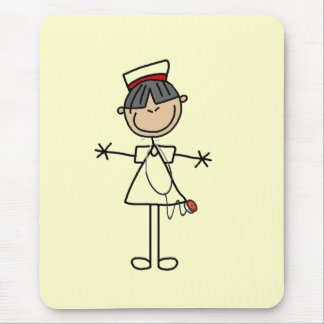 Asian Female Stick Figure Nurse T-shirts and Gifts Mouse Pad