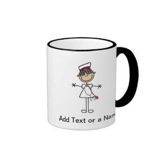 Asian Female Stick Figure Nurse T-shirts and Gifts Ringer Coffee Mug