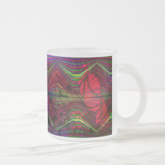 Asian figures with abstract designs frosted glass coffee mug