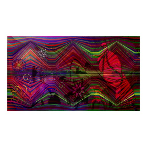 Asian figures with abstract designs poster