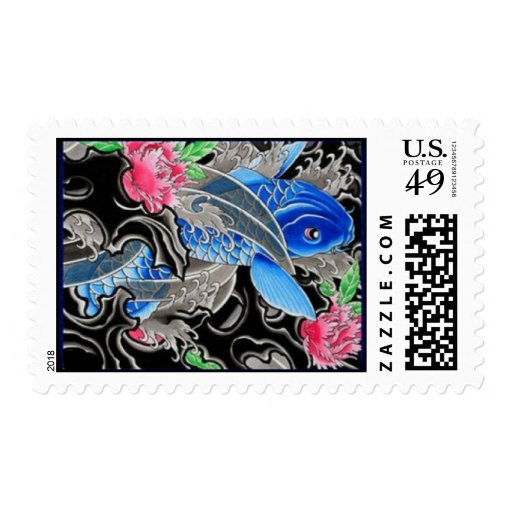asian fish tattoo postage stamps zazzle. Black Bedroom Furniture Sets. Home Design Ideas