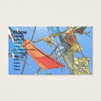 Asian Flags Against the Sky Painting Business Card