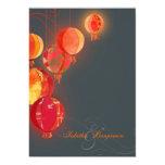 "Asian Flare Red Lanterns Elegant Formal Wedding 5"" X 7"" Invitation Card"