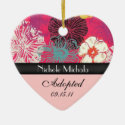 Asian Floral Adoption Announcement Keepsake Christmas Tree Ornament