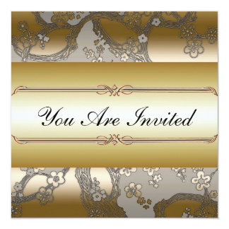 "Asian Floral Gold and Silver Party Invitations 5.25"" Square Invitation Card"