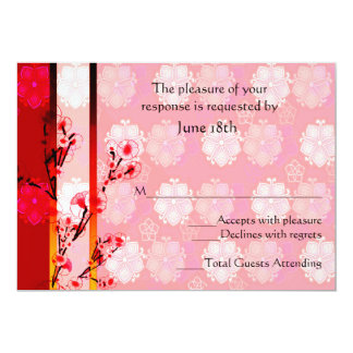 Asian Floral RSVP Card Personalized Invitation