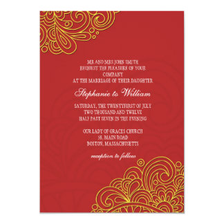 Asian Floral Swirl Wedding Invitation