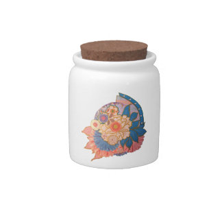 Asian Flower Collage art Candy Dish