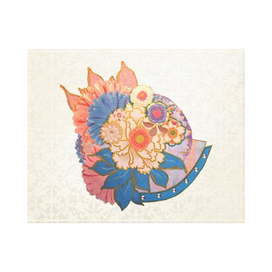 Asian Flower Collage art Canvas Print