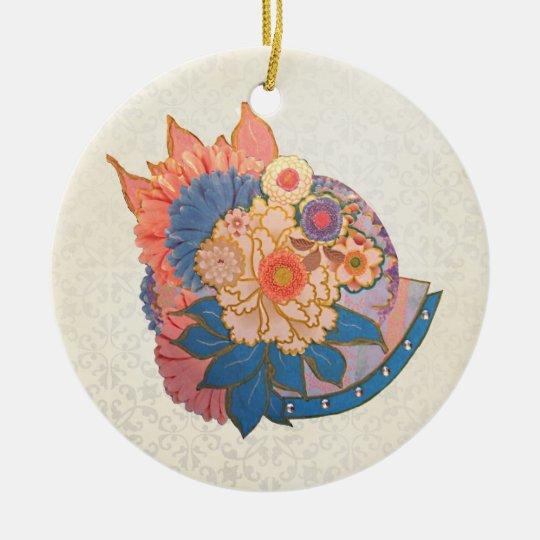 Asian Flower Collage art Ceramic Ornament