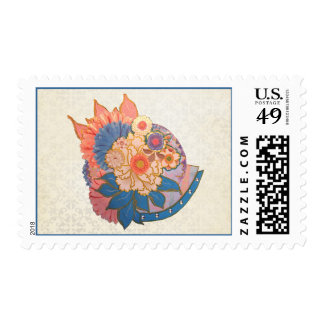 Asian Flower Collage art Stamp