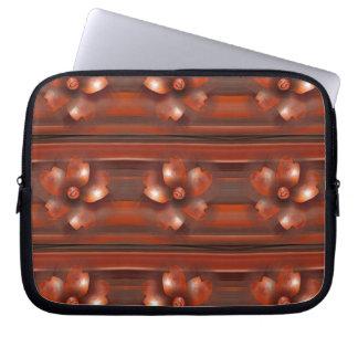 Asian Flower Retro Stripes Laptop Sleeve