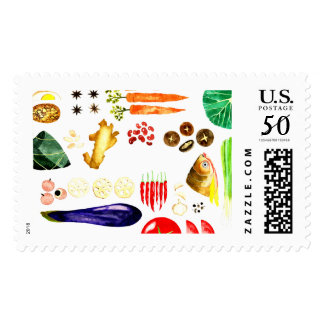 Asian Food Cooking Stamp