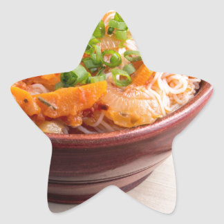 Asian food of rice noodles in a small wooden bowl star sticker
