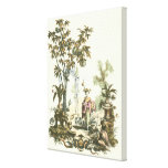 Asian Garden with Woman and Animals Canvas Print