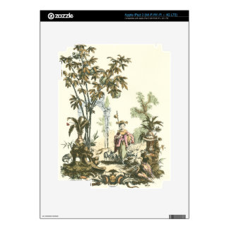 Asian Garden with Woman and Animals iPad 3 Skin